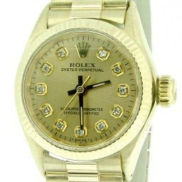Ladies Rolex 14K Yellow Gold Oyster Perpetual Champagne Diamond 6719 (SKU 1603075CMT)