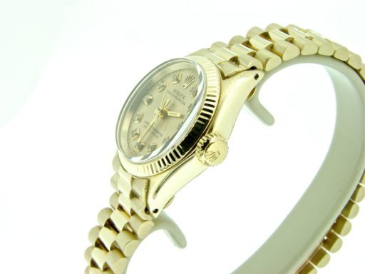 Rolex 14K Yellow Gold Oyster Perpetual 6719 Champagne Diamond-3