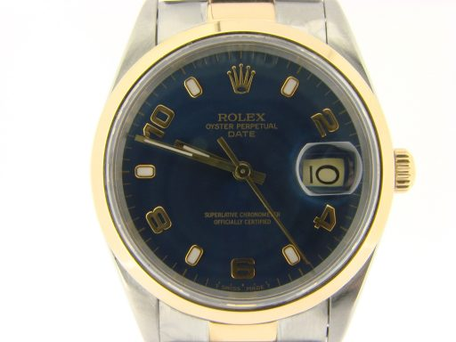 Rolex Two-Tone Date 15203 Blue Arabic-1