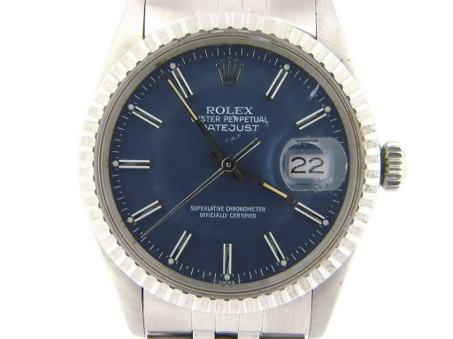 Rolex Stainless Steel Datejust 16030 Blue -1