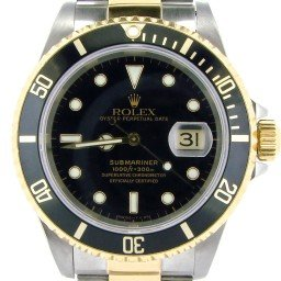 Mens Rolex Two-Tone 18K/SS Submariner Black  16613 (SKU T736740NBCMT)