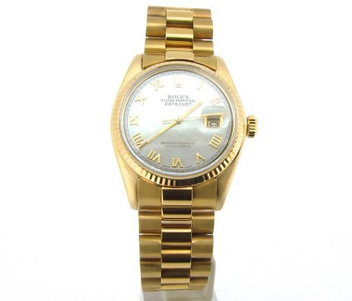Rolex 18K Yellow Gold Datejust 1601 White MOP Roman-5