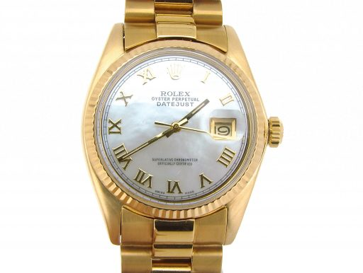Rolex 18K Yellow Gold Datejust 1601 White MOP Roman-1