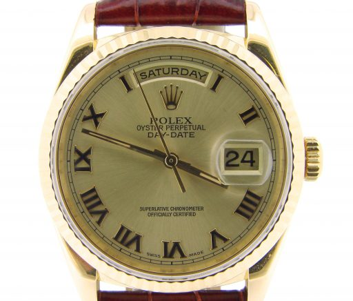 Rolex 18K Yellow Gold Day-Date President 18238 Champagne Roman-1