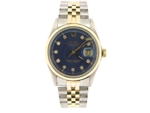 Rolex Two-Tone Datejust 1601 Blue Diamond-5