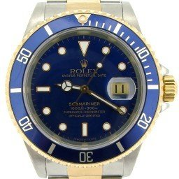 Mens Rolex Submariner Ref 16613 Two Tone Blue Dial
