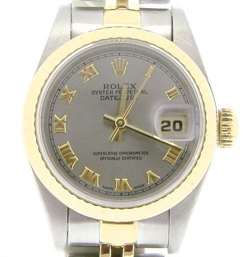 Rolex Two-Tone Datejust 69173 Gray Slate Roman-1