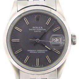 Mens Rolex Stainless Steel Date Gray Slate 15000