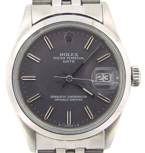 Rolex Stainless Steel Date 15000 Gray, Slate -1
