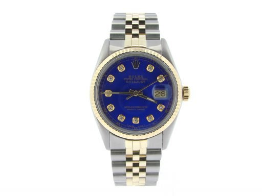 Rolex Two-Tone Datejust 16013 Blue Diamond-4