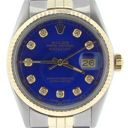 Mens Rolex Two-Tone 18K/SS Datejust Blue Diamond 16013