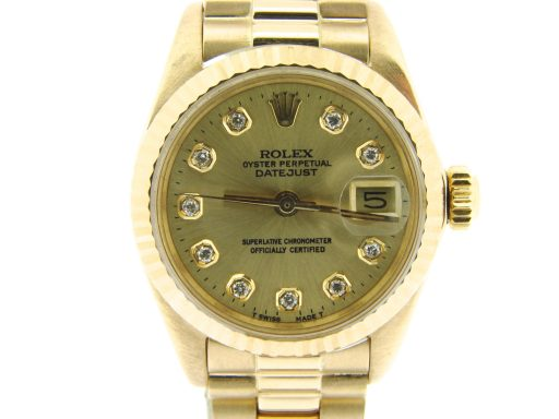 Rolex Yellow Gold Datejust President Diamond 6917 Champagne-1
