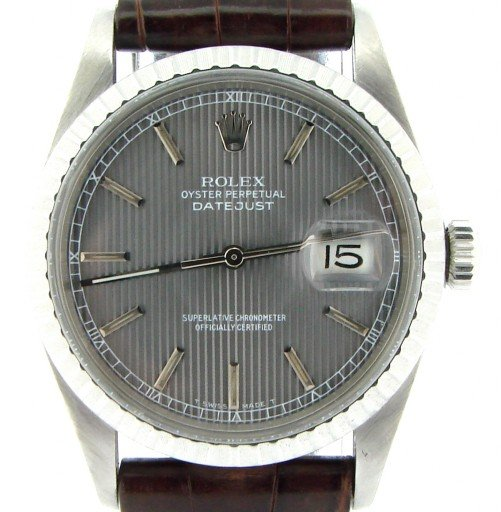 Rolex Stainless Steel Datejust 16030 Gray, Slate -1