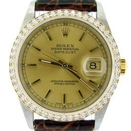 Mens Rolex Two-Tone 18K/SS Datejust Champagne Diamond 16233 (SKU P525330NBRNBCMT)