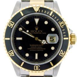 Mens Rolex Two-Tone 18K/SS Submariner Black  16613 (SKU X516568NBCMT)