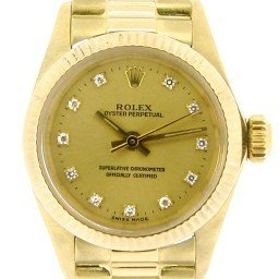 Ladies Rolex 18K Yellow Gold Oyster Perpetual Champagne Diamond 6719