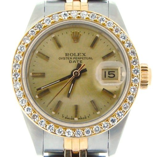Rolex Two-Tone Date 69173 Diamond Champagne-1