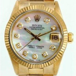 Mid Size Rolex 18K Yellow Gold Datejust President White MOP Diamond 68278