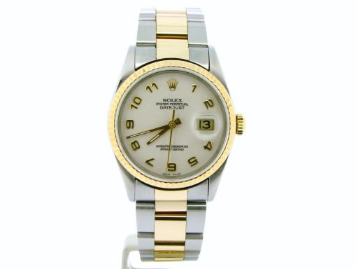 Rolex Two-Tone Datejust 16233 White Arabic-4