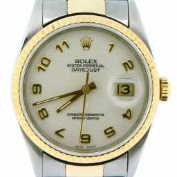 Mens Rolex Two-Tone 18K/SS Datejust White Arabic 16233 (SKU X402677NOYSBCMT)