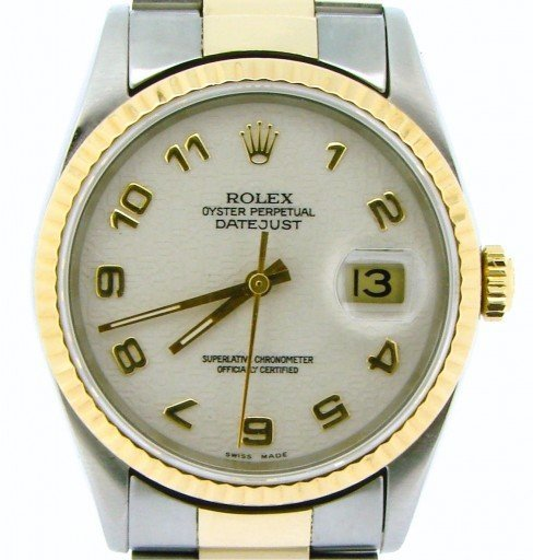 Rolex Two-Tone Datejust 16233 White Arabic-1