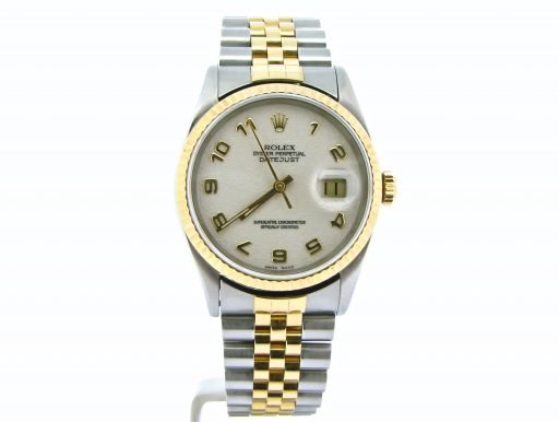Rolex Two-Tone Datejust 16233 White Arabic-7