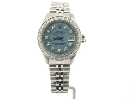 Rolex Stainless Steel Datejust 6917 Blue MOP Diamond-6