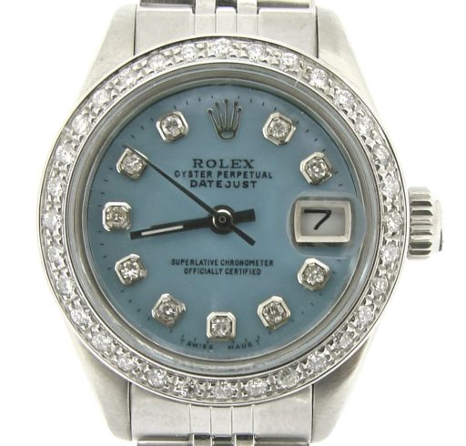 Rolex Stainless Steel Datejust 6917 Blue MOP Diamond-1