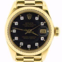 Ladies Rolex 18K Yellow Gold Datejust President Black Diamond 6917 (SKU 6322906NMT)