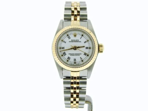 Rolex Two-Tone Oyster Perpetual 67193 White Roman-8