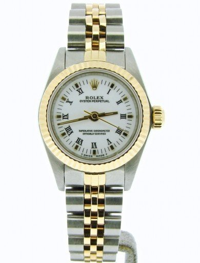 Rolex Two-Tone Oyster Perpetual 67193 White Roman-7