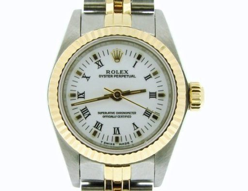 Rolex Two-Tone Oyster Perpetual 67193 White Roman-1