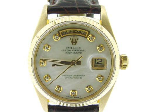 Rolex 18K Yellow Gold Day-Date President 18038 White MOP Diamond-1