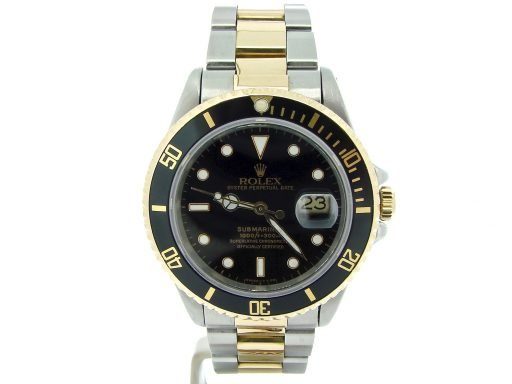 Rolex Two-Tone Submariner 16803 Black -7