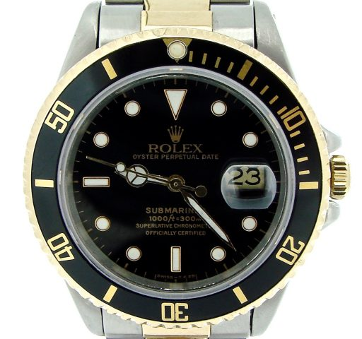 Rolex Two-Tone Submariner 16803 Black -1