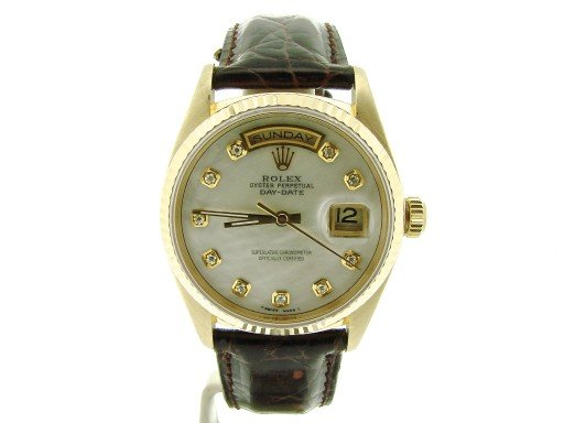 Rolex 18K Yellow Gold Day-Date President 18038 White MOP Diamond-6