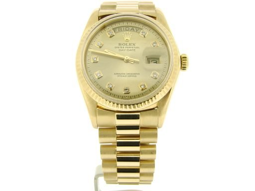 Rolex 18K Yellow Gold Day-Date President 1803 Champagne Diamond-8
