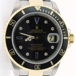 Mens Rolex Two-Tone 18K/SS Submariner Black Diamond 16613