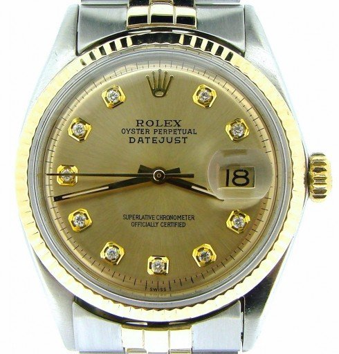Rolex Two-Tone Datejust 1601 Champagne Diamond-1