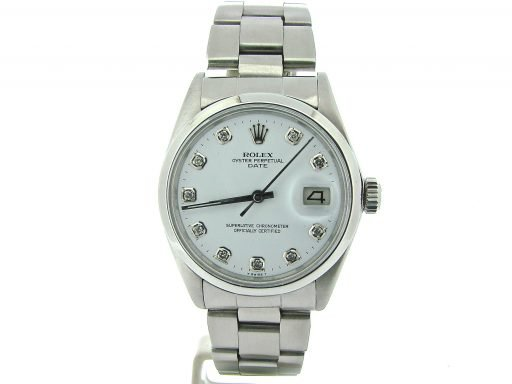 Rolex Stainless Steel Date 1500 Silver Diamond-6