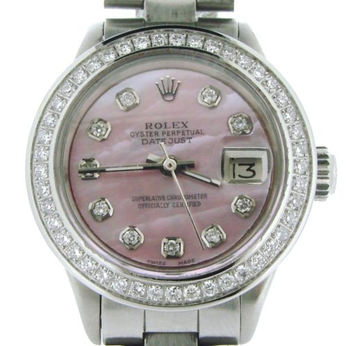 Rolex Stainless Steel Datejust 6917 Pink MOP Diamond-1