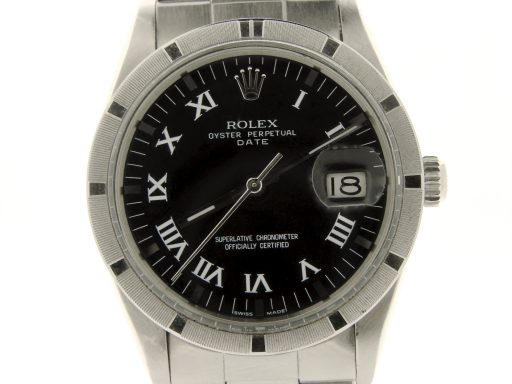 Rolex Stainless Steel Date 15010 Black Roman-1