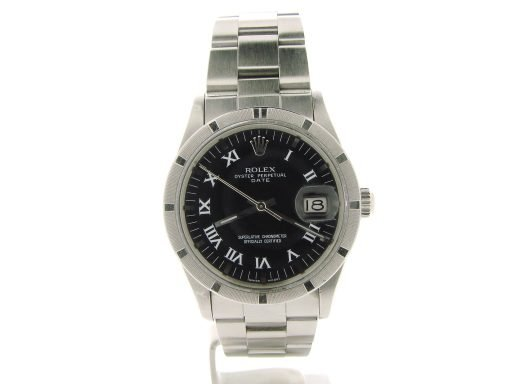 Rolex Stainless Steel Date 15010 Black Roman-7