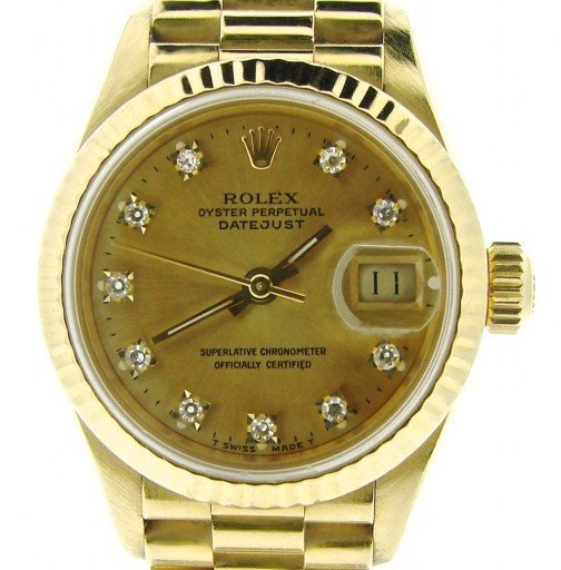 Rolex Yellow Gold Datejust President Diamond 69178 Champagne-1