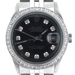 Mens Rolex Stainless Steel Datejust Black Diamond 1603
