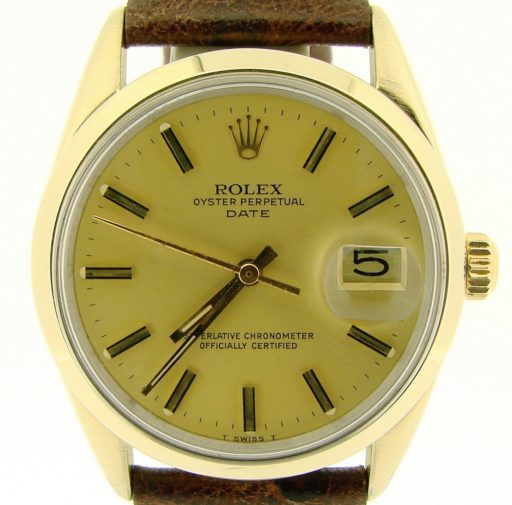 Rolex Gold Shell Date 1550 Champagne-1