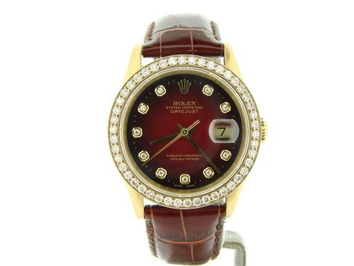 Rolex 18K Yellow Gold Datejust 16018 Diamond Red Vignette-6