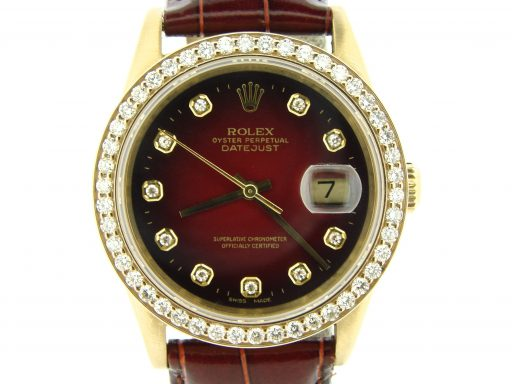 Rolex 18K Yellow Gold Datejust 16018 Diamond Red Vignette-1