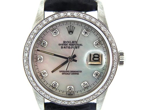 Rolex Stainless Steel Datejust 16030 White MOP Diamond-1