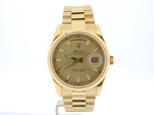 Rolex 18K Yellow Gold Day-Date President 118238 Champagne -7